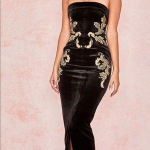 ATHENEA Black Embroidered Maxi Dress